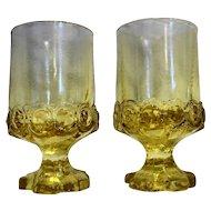 Tiffin Franciscan Madeira Cornsilk Yellow Citron Juice Wine Tumblers Pair