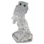 Owl Art Glass Figurine Green Eyes