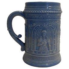 Periwinkle Blue Slag Milk Glass Stein Mug German Phrase Highly Embossed