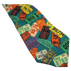 Perry Ellis 100% Silk Tie Multi Colored License Plate Print Made in USA