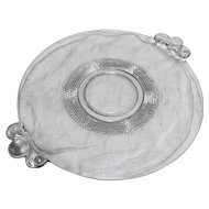 Duncan Miller Teardrop Clear Glass 2 Handle Cake Plate 13 IN