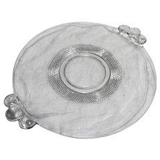 Duncan Miller Teardrop Clear Glass 2 Handle Cake Plate 13 IN