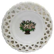 Forget Me Not White Milk Glass Lace Edge Plate 8.5 IN Westmoreland