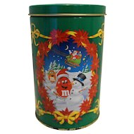 M&Ms Peanut Chocolate Candies Christmas Tin 1993