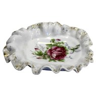 Lefton Pink Rose Ruffled Rim Porcelain Soap Trinket Pin Dish
