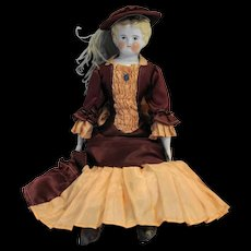 German Low Brow Blond China Head Doll 1890s 18 IN