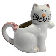 Cozy Cats Mount Clemens Pottery Taiwan Hand Painted Creamer White Pink