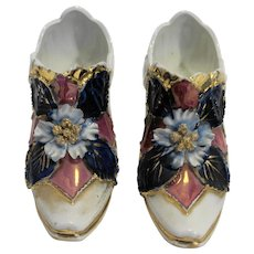 Porcelain Shoes Pumps Pair Germany Antique Hand Painted Embossed