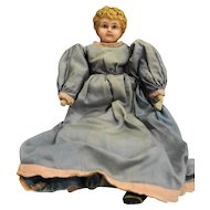 Minerva Tin Head Doll Cloth Body Germany Blue Dress