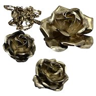 Mexico Sterling Rose Necklace Pendant Brooch Earrings Set