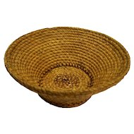 Rye Grass Coil Round Large Footed Basket Self Handles Vintage 13 IN