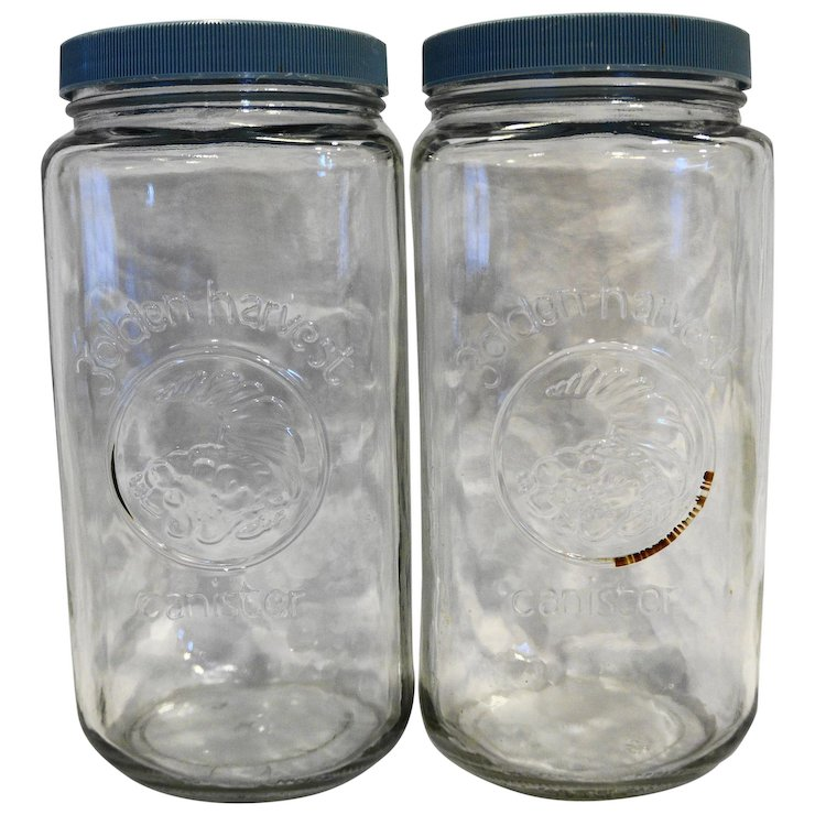 Golden Harvest Clear Glass Canisters 2l Tall Blue Lids Pair