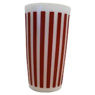 Hazel Atlas Red Candy Stripe White Milk Glass Tumbler