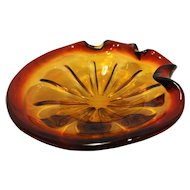 Amberina Murano Art Glass Ashtray Large 9 IN