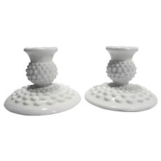 Fenton Hobnail White Milk Glass 3974 Candle Holders Pair Flat Foot Single Light Taper