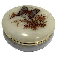 Artmark Butterfly Floral Lucite Cream Trinket Box Dresser Casket Jar Round Italy