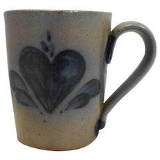 Rowe Pottery Works Heart Blue Salt Glazed Mug 1990