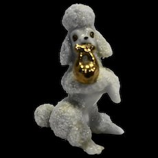 White Ceramic Spaghetti Style Porcelain Poodle Figurine Japan