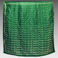 Calvin Klein Block Signature Logo Silk Scarf Green White 26 IN Square