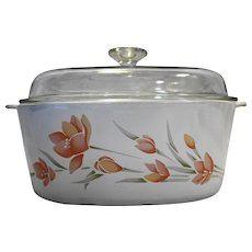 Corning Ware Peach Floral Dutch Oven 5 QT 5L Square Casserole Domed Lid A-5-B