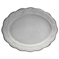 Hazel Atlas Newport Platonite White Gold Trim Oval Platter