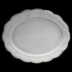Hazel Atlas Newport Platonite White Gold Trim Oval Platter