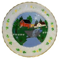 Anchor Hocking Fire King Golden Shell Hand Painted Farm Scene Dinner Plate