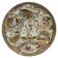 Yellowstone National Park Souvenir Plate Brown Transferware Color Tinted