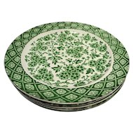 Ridgway Ridgways Hawthornden Green Dinner Plates Set of 5 Rare 1880s Aesthetic Movement