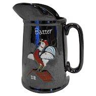 Rooster Batter Pitcher Lustre Brown Redware Japan