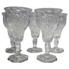 McKee Rock Crystal Depression Glass Water Goblets Set of 5