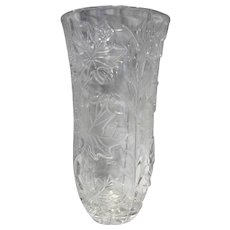 Maple Leaf Clear Tall Vase Crystal 8 3/4 IN