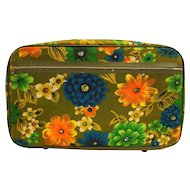 Bantam Olive Green Bright Floral Flower Power Small Suitcase