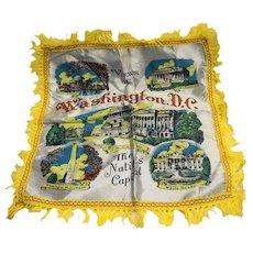 Washington, DC White Satin Souvenir Pillow Case Cover Yellow Fringe