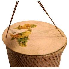 Pink Sewing Basket Wicker Round Hat Box Vintage