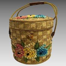 Straw Raffia Flowers Bucket Lunch Pail Purse