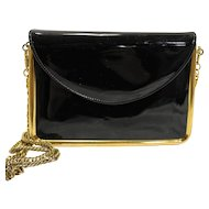 Cappagallo Black Patent Leather Evening Bag Clutch Purse