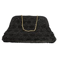 La Regale Black Beaded Sequins Evening Bag Clutch Purse