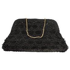 La Regale Black Beaded Sequins Evening Bag Clutch Purse