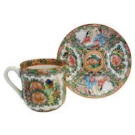 Rose Medallion Famille Hand Painted Demitasse Cup Saucer Chinese Export Pre 1940
