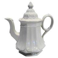 Red Cliff Sydenham White Ironstone Tea Pot Coffee Pot Embossed Petals