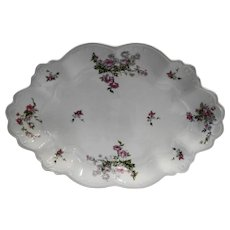 MZ Austria Pink Floral Scalloped Platter 1891-1917 Pink Roses