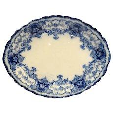 John Maddock Sons Flow Blue Dainty Oval Platter 12 IN 1890s