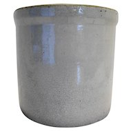 Stoneware Vintage Grey Glazed Gallon Crock Primitive
