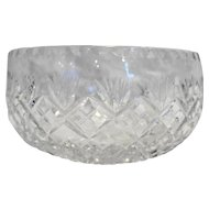 Cut Glass Lead Crystal Open Round Serving Bowl Fan Diamond Criss Cross 7.5 IN