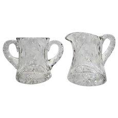 Cut Glass Lead Crystal Creamer Sugar Bowl Set Floral Flowers