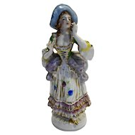 Occupied Japan Figurine Lady Colonial WIth Hat Green Bodice 10 IN