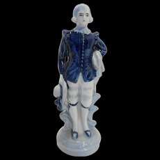 Occupied Japan Blue White European Man Boy Figurine 7 IN
