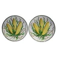 Charles Ahrenfeldt & Sons Saxe Austria Porcelain Plates Hand Painted Ears of Corn