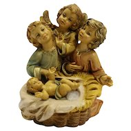 Angels Baby Jesus Figurine Resin Hand Painted Italy